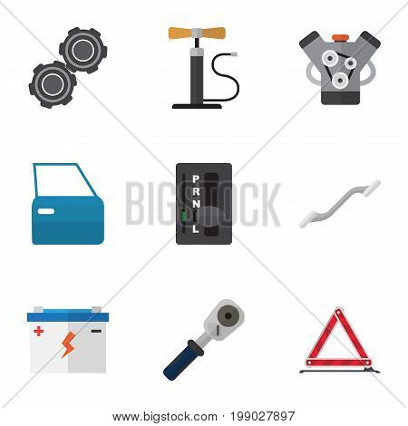 Flat Icon Workshop Set Of Ratchet, Belt, Accumulator And Other Vector Objects