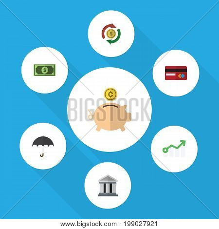 Flat Icon Gain Set Of Greenback, Money Box, Interchange And Other Vector Objects