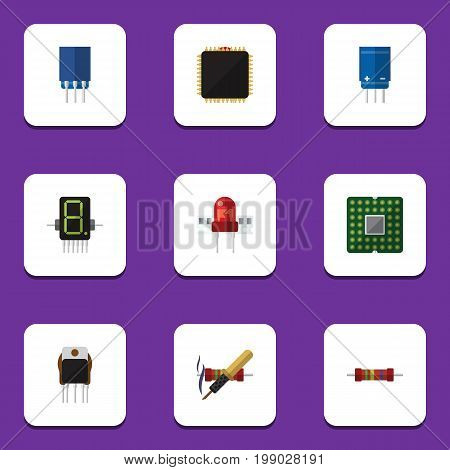 Flat Icon Electronics Set Of Recipient, Unit, Receiver And Other Vector Objects