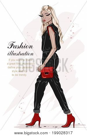 Beautiful fashion girl hand drawn with black and red colors. Stylish woman in fashion clothes. Sketch. Full body woman portrait. Vector illustration.