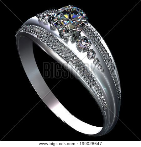 White gold wedding ring with diamond gem. Luxury jewellery bijouterie from silver or platinum with gemstone. 3D rendering on black background.