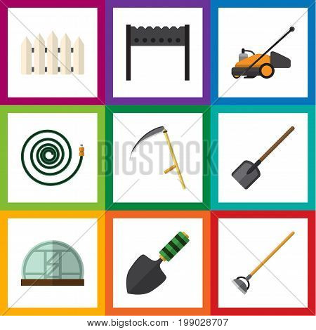 Flat Icon Garden Set Of Hothouse, Trowel, Hosepipe And Other Vector Objects