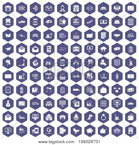 100 postal service icons set in purple hexagon isolated vector illustration