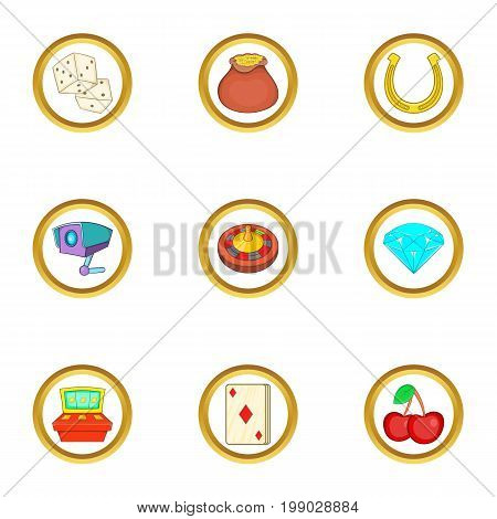 Casino games icons set. Cartoon set of 9 casino games vector icons for web isolated on white background