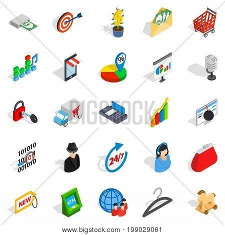 Website development icons set. Isometric set of 25 website development vector icons for web isolated on white background
