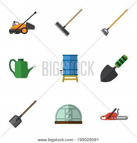 Flat Icon Garden Set Of Trowel, Lawn Mower, Harrow And Other Vector Objects