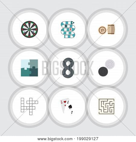 Flat Icon Games Set Of Arrow, Jigsaw, Lottery And Other Vector Objects