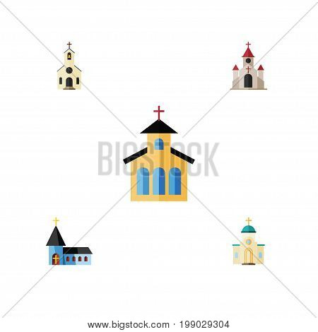 Flat Icon Church Set Of Traditional, Catholic, Building And Other Vector Objects