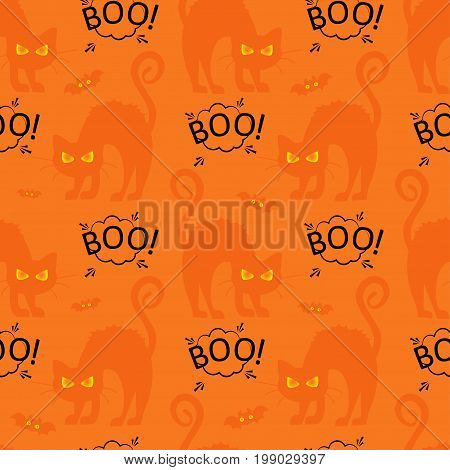 Abstract seamless pattern for girls or boys. Creative vector background with cat, cloud boo, halloween. Funny wallpaper for textile and fabric. Fashion style. Colorful bright picture for children.