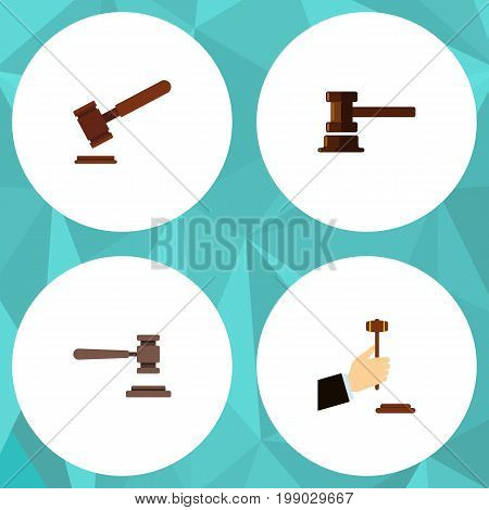 Flat Icon Hammer Set Of Law, Government Building, Justice And Other Vector Objects