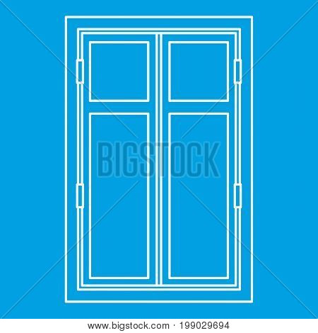 Wooden window icon blue outline style isolated vector illustration. Thin line sign