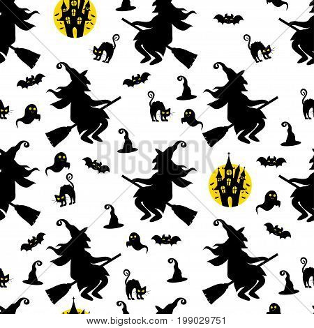 Abstract seamless pattern for girls or boys. Creative vector background with cat, whitch, halloween. Funny wallpaper for textile and fabric. Fashion style. Colorful bright picture for children.