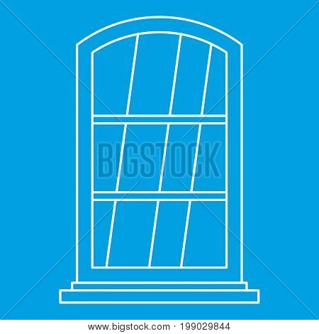 White narrow window icon blue outline style isolated vector illustration. Thin line sign