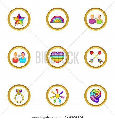 Lgbt people icons set. Cartoon set of 9 lgbt people vector icons for web isolated on white background
