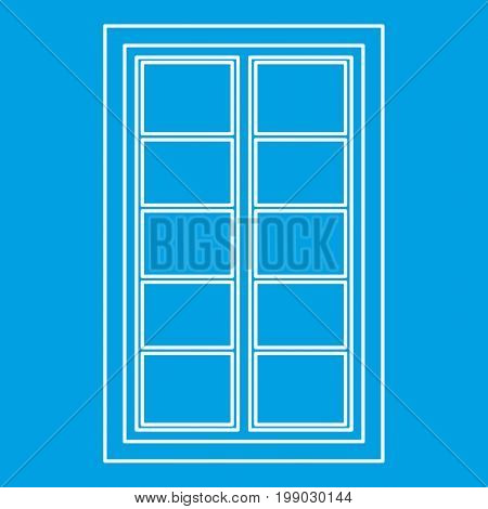 Wooden latticed window icon blue outline style isolated vector illustration. Thin line sign