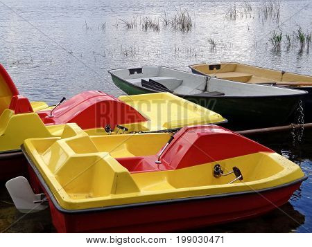 Boats and paddle boats in the boat station