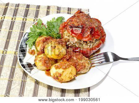 The sweet peppers stuffed with vegetables and potatoes (Greek cuisine)