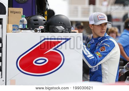 August 06, 2017 - Watkins Glen, New York, USA: Trevor Bayne (6) hangs out on pit road prior to qualifying for the I LOVE NY 355 at Watkins Glen International in Watkins Glen, New York.