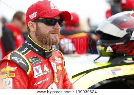 August 06, 2017 - Watkins Glen, New York, USA: Dale Earnhardt Jr. (88) hangs out on pit road prior to qualifying for the I LOVE NY 355 at Watkins Glen International in Watkins Glen, New York.