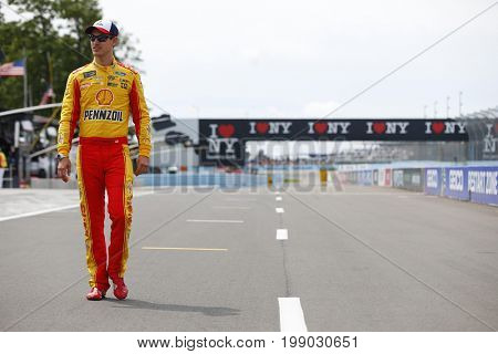 August 06, 2017 - Watkins Glen, New York, USA: Joey Logano (22) hangs out on pit road prior to qualifying for the I LOVE NY 355 at Watkins Glen International in Watkins Glen, New York.