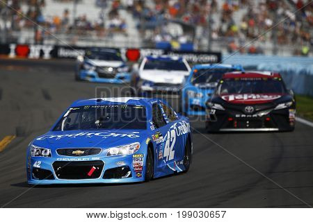 August 06, 2017 - Watkins Glen, New York, USA: Kyle Larson (42) brings his car through the turn during the I LOVE NY 355 at Watkins Glen International in Watkins Glen, New York.