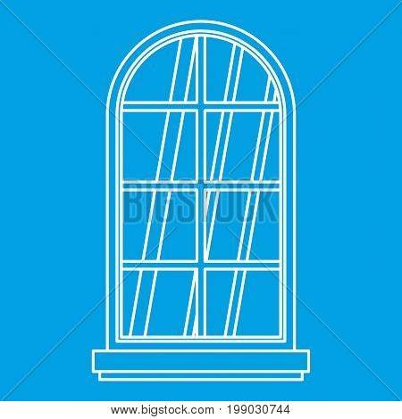 Arched window icon blue outline style isolated vector illustration. Thin line sign