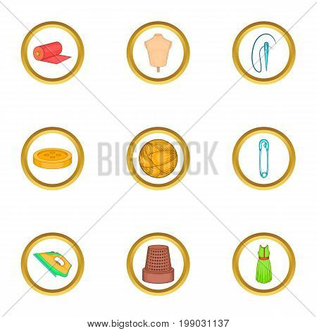 Tailor equipment icons set. Cartoon set of 9 tailor equipment vector icons for web isolated on white background