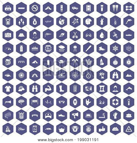 100 rafting icons set in purple hexagon isolated vector illustration