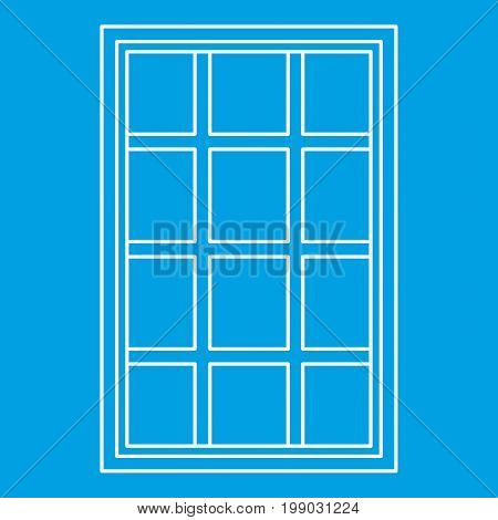 White latticed rectangle window icon blue outline style isolated vector illustration. Thin line sign