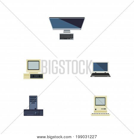 Flat Icon Computer Set Of Notebook, Processor, Computer And Other Vector Objects
