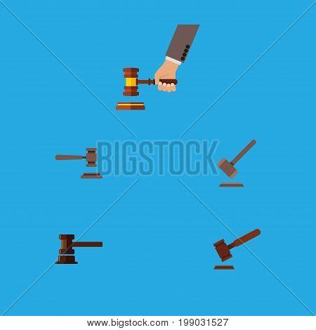 Flat Icon Hammer Set Of Legal, Justice, Crime And Other Vector Objects
