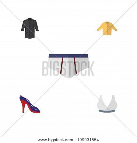 Flat Icon Clothes Set Of Brasserie, Underclothes, Uniform And Other Vector Objects