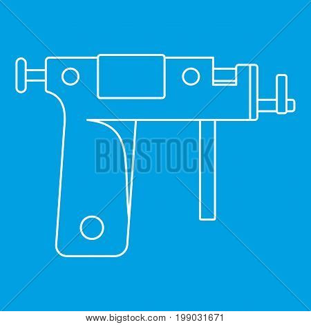 Piercing gun icon blue outline style isolated vector illustration. Thin line sign
