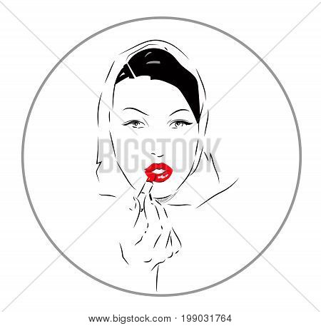 Lovely female face. Beauty icon or sign for hairdressing, barber or beauty salon, estetic medicine centre, fashion boutique
