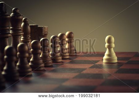 Wooden chess figures , business concept strategy
