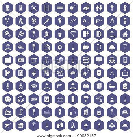 100 renovation icons set in purple hexagon isolated vector illustration