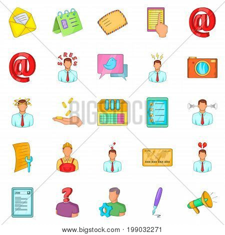 Remote work icons set. Cartoon set of 25 remote work vector icons for web isolated on white background
