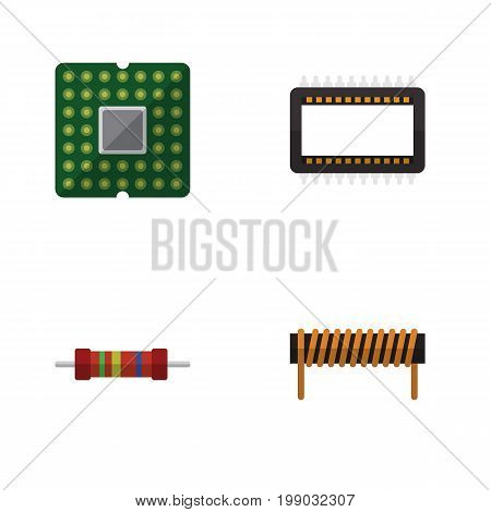 Flat Icon Technology Set Of Bobbin, Resistance, Unit And Other Vector Objects