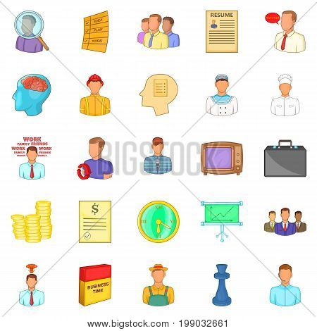 Employ icons set. Cartoon set of 25 employ vector icons for web isolated on white background