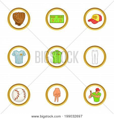 Soccer equipment icons set. Cartoon set of 9 soccer equipment vector icons for web isolated on white background