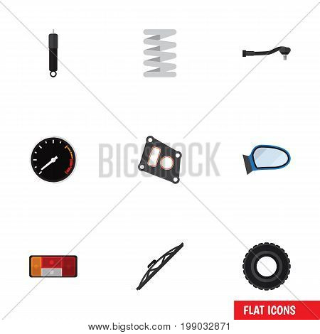 Flat Icon Parts Set Of Gasket, Windshield, Auto Component And Other Vector Objects