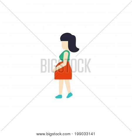 Mother Vector Element Can Be Used For Pregnant, Woman, Pregnancy Design Concept.  Isolated Pregnancy Flat Icon.