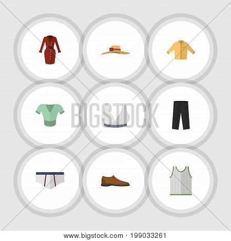 Flat Icon Garment Set Of Banyan, Pants, Singlet And Other Vector Objects