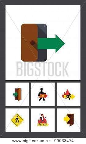 Flat Icon Emergency Set Of Entry, Exit, Directional And Other Vector Objects