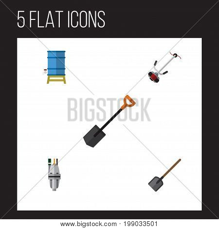 Flat Icon Dacha Set Of Shovel, Grass-Cutter, Spade And Other Vector Objects