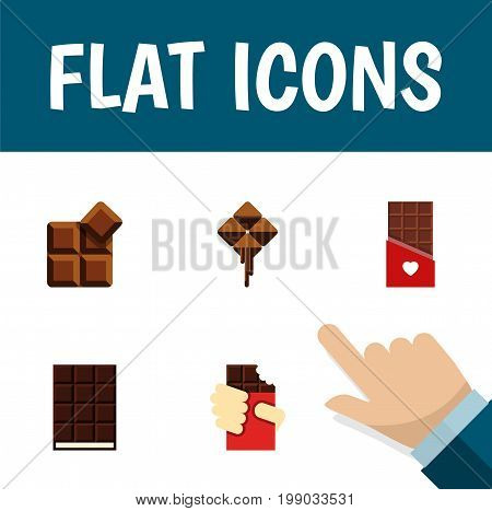 Flat Icon Sweet Set Of Cocoa, Shaped Box, Delicious And Other Vector Objects
