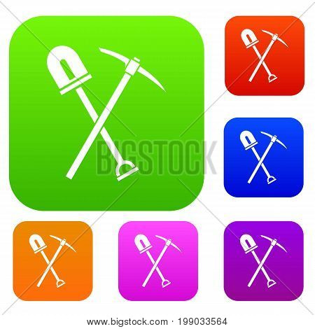 Shovel and pickaxe set icon in different colors isolated vector illustration. Premium collection