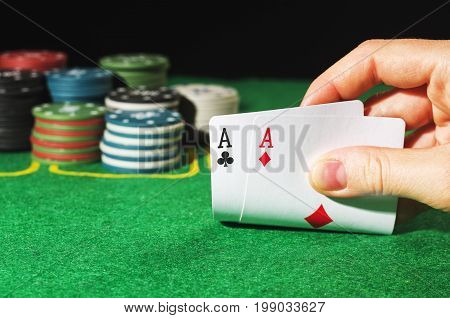 Two Aces In Woman Hand