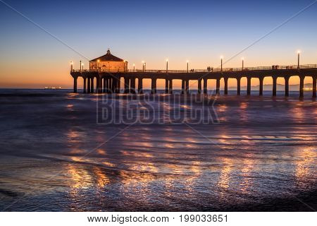 Manhattan Beach Pier at sunset Los Angeles California