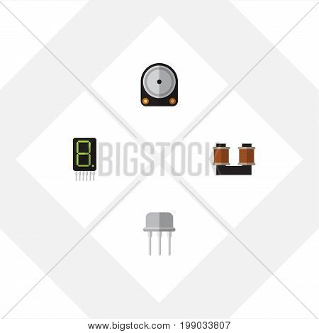 Flat Icon Appliance Set Of Hdd, Display, Resist And Other Vector Objects